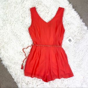 NWT Anthropology Mine Pink Tank Romper With Belt